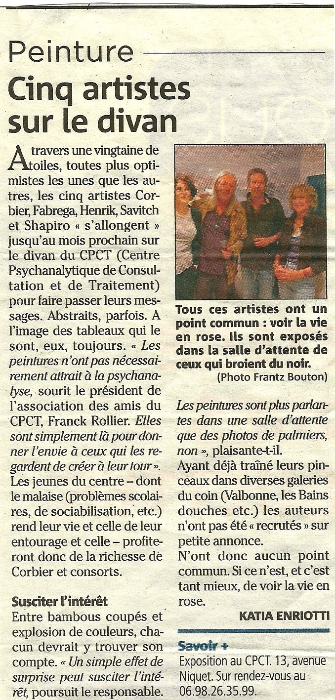 Article Nice-matin: des artistes exposent au CPCT-Antibes